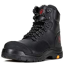 ROCKROOSTER Work Boots for Men, Steel Toe Boots with Side Zipper